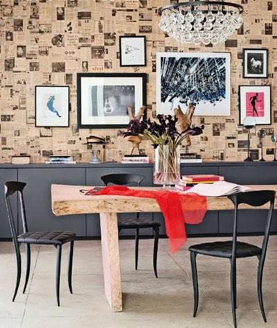 làm mới nhà, báo cũ, giấy dán tường, nội thất cơ bản