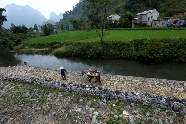 kiến trúc nhà sàn đá, thác Bản Giốc, Cao Bằng, xây dựng, đá tự nhiên, nhà sàn, dân tộc