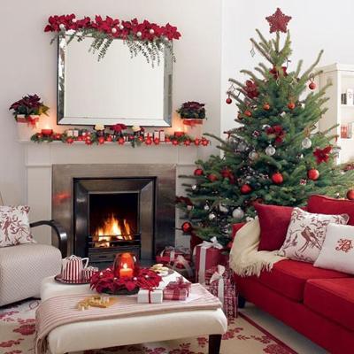 trang trí phòng khách đẹp đón giáng sinh