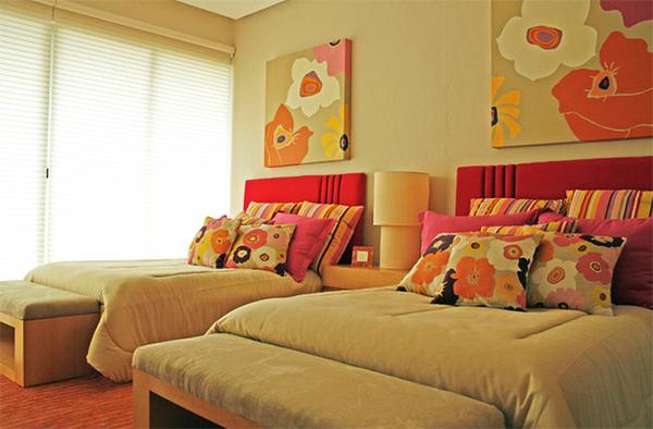 trang trí phòng ngủ, design phòng ngủ, phòng ngủ sắc màu, nội thất hoa, concept nhà