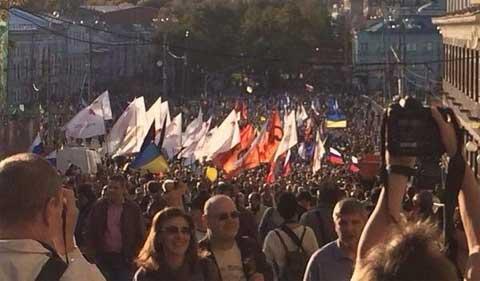 Biểu tình phản chiến rầm rộ ở Moscow