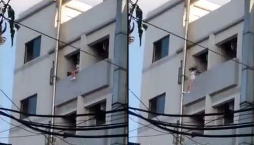 Cô gái nhảy xuống đất như mèo từ tầng 6