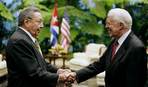 Former U.S president Carter meets Cuban president