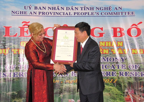 Nghe An receives World Biosphere Reserve title