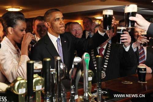 U.S. president Obama visits ancestral home in trip to Ireland