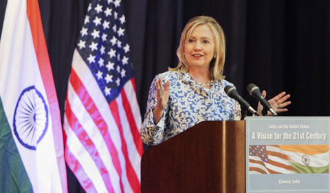 "As China looms, Hillary Clinton tells India ""it's time to lead"""