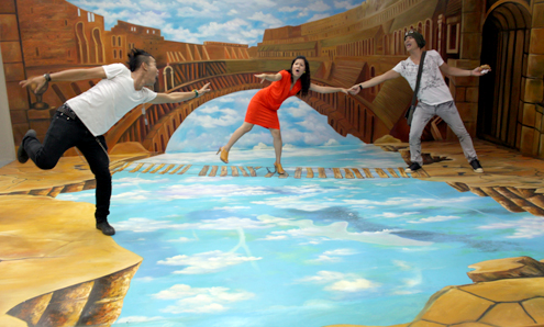 Funny 3D paintings exhibited in HCM City