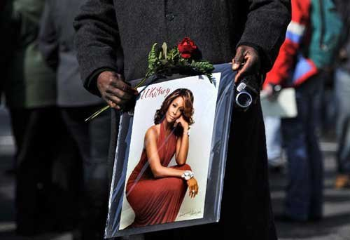 U.S. pop superstar Whitney Houston's funeral held in Newark, New Jersey