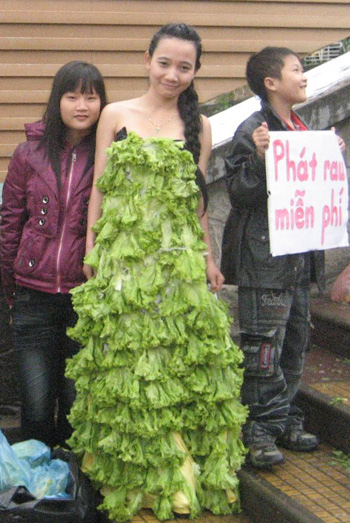 girl, vegetable, coconut costume, trieu chinh