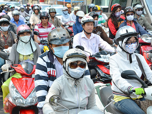 Vietnam, transport, urban area, pollution, motorbikes