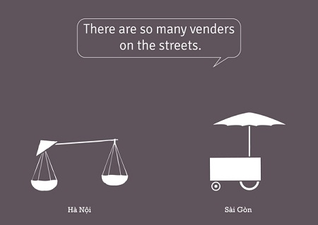 The interesting graphics about the difference between Hanoi and Saigon