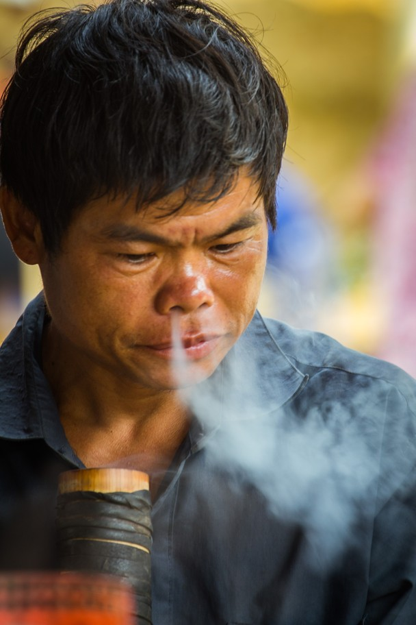 Smoking! This man smoked a large pipe and I waited for the moment the smoke came out of his nose, by Adriaan Devillé.