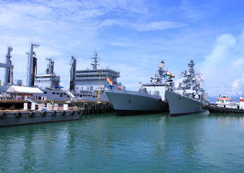 The four naval vessels of India at the Tien Sa Port of Da Nang on June 4.