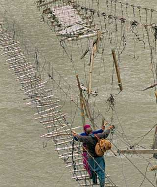 Hussaini Hanging Bridge, Pakistan.