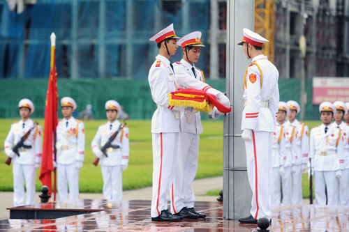 flag hoisting ceremony, flag salute