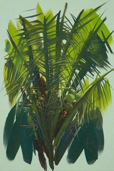 Peaceful southwestern region in watercolor paintings