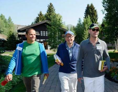 Rupert Murdoch (C) with his sons Lachlan (L) and James in Sun Valley, Idaho on July 12, 2011. James, 40, is believed to be the heir apparent to the family empire.