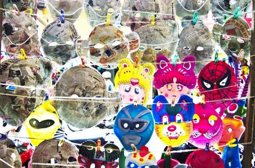 mask, autumn festival, hang luoc, cardboard masks