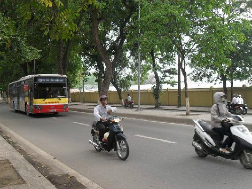Traveling by bus in Hanoi
