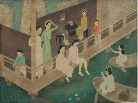 Vietnamese artists, most valuable paintings, Vietnamese silk painting