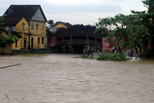 hoi an, flood, hoai river, tourists