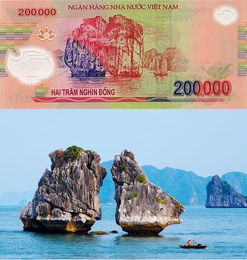 banknote, famous places on banknotes, vietnamese banknotes, khue van cac, chua cau