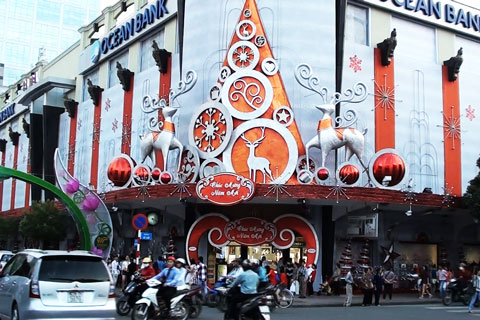 christmas, saigon, decoration, streets, buildings, trading centers