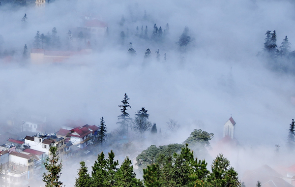 sapa, white clouds, spring, tet