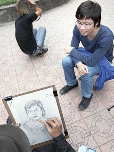 Ha Noi, Hoan Kiem Lake, Van Mieu, street portrait, portrait sketch