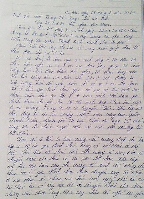 Do Hong Son, truong tan sang, letter