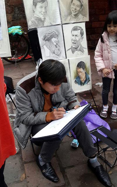 Hanoi, portraits, sketching street