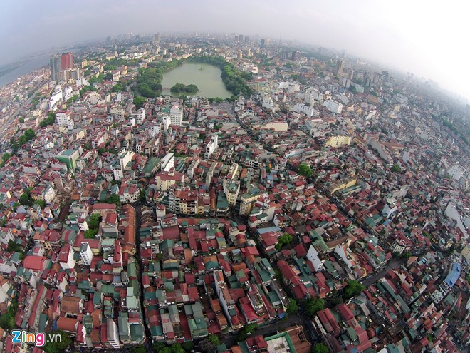 Hanoi Old Quarter viewed from flying cameras
