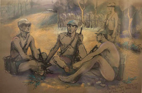 Exhibition showcases war paintings by late veteran