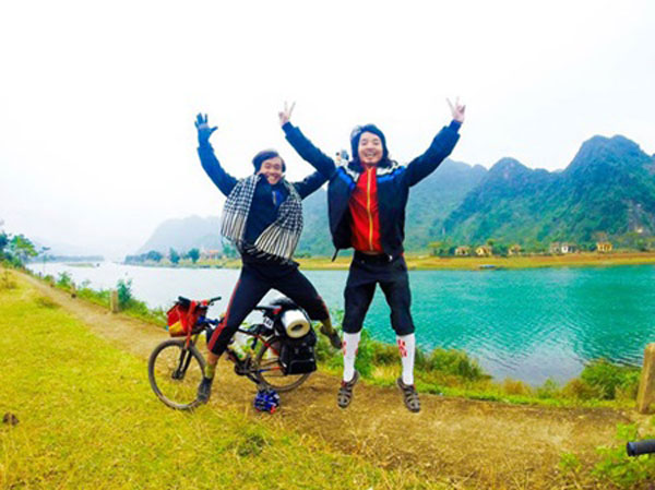 Cycling expedition, young people, handwritten letters