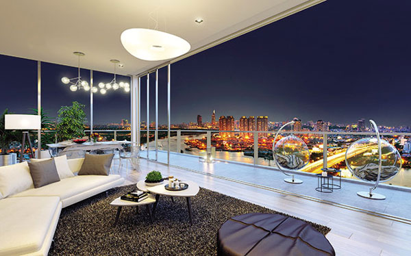 Penthouses, rooftop apartments, luxury living standards, Masteri Thao Dien
