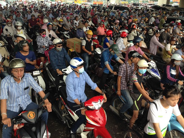 Horrible congestion during peak hours in Hanoi