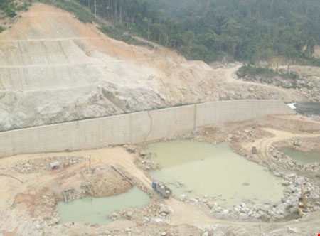 Unlicensed hydropower plant being built in mountainous area