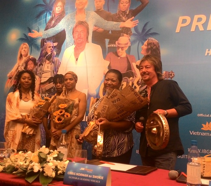 Chris Norman (right) and Boney M at the press conference yesterday.
