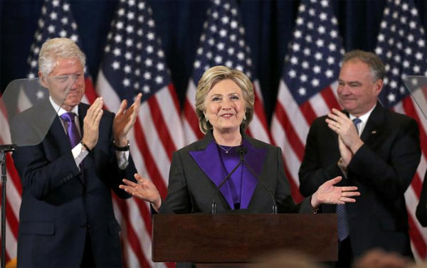 Clinton thanks staff, supporters behind historic bid for U.S. presidency