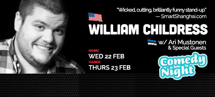 American stand-up comedian William Childress performs in Saigon, Hanoi