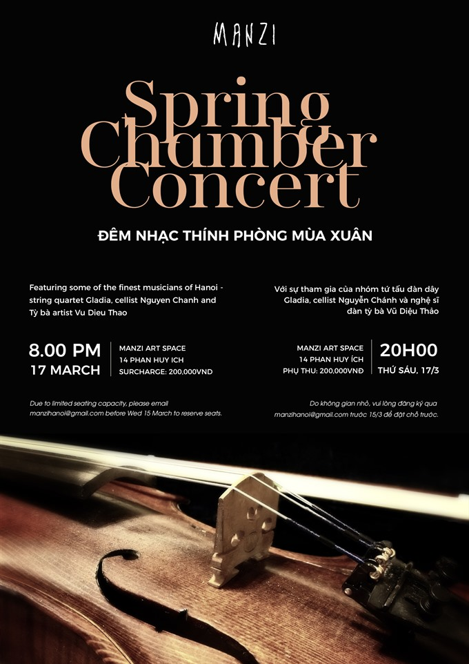Manzi's Spring Chamber Concert features string quartet Gladia, entertainment events, entertainment news, entertainment activities, what's on, Vietnam culture, Vietnam tradition, vn news, Vietnam beauty, news Vietnam, Vietnam news, Vietnam net news, vietna