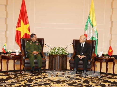 Party leader discusses defence ties with Myanmar military chief,
