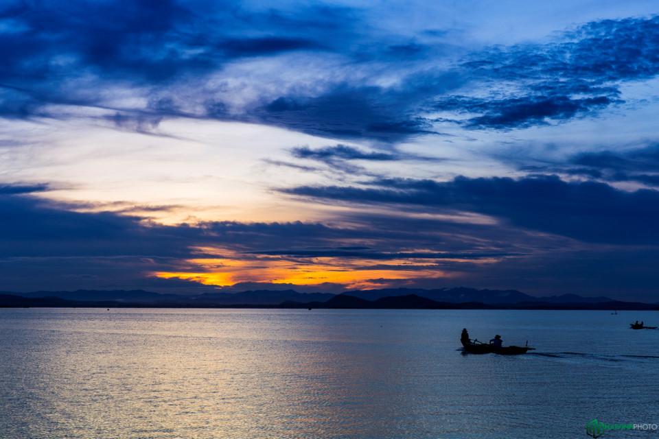 Beautiful sunset at the fishing village on Dong Nai River