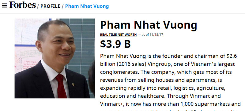vietnam economy, business news, vn news, vietnamnet bridge, english news, Vietnam news, news Vietnam, vietnamnet news, vn news, Vietnam net news, Vietnam latest news, Vietnam breaking news, Pham Nhat Vuong, Forbes, stock billionaires