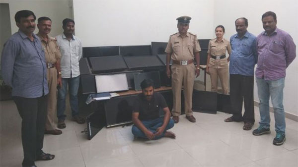 India hotel guest, arrested, stealing TVs