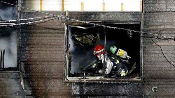 Japan, fire, welfare home, rescued, firefighters