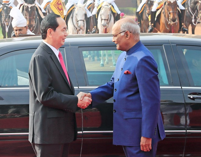 Vietnamese President meets with Indian counterpart, President Tran Dai Quang holds talks with Indian PM Narendra Modi, Vietnamese President calls for stronger ties with India, Vietnam wants deeper investment cooperation with India: President, Government