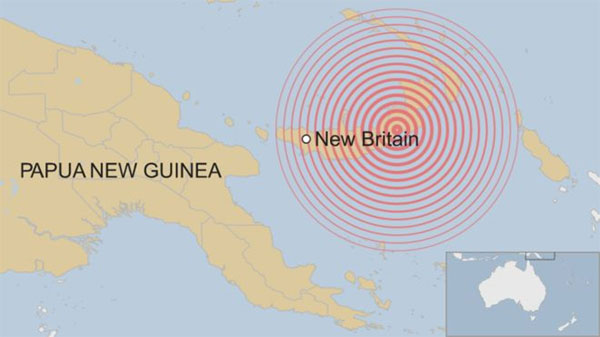 Papua New Guinea, New Britain island, earthquake