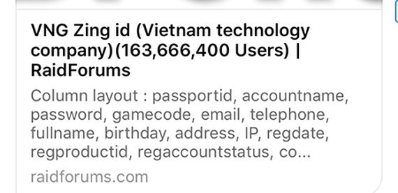 VNG pledges to save 160 million leaked Zing ID accounts, IT news, sci-tech news, vietnamnet bridge, english news, Vietnam news, news Vietnam, vietnamnet news, Vietnam net news, Vietnam latest news, Vietnam breaking news, vn news