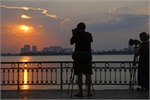 Beautiful sunset on Hanoi's West Lake